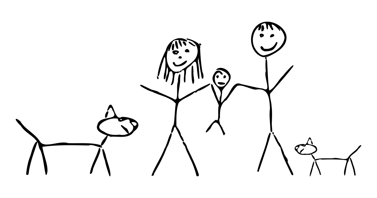 Stick figure drawing of a mom, dad, baby, and two dogs.